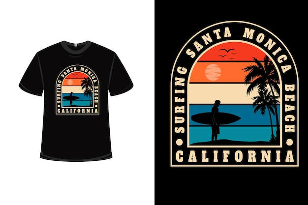 Conception de t-shirt avec surf santa monica beach california en orange crème et bleu
