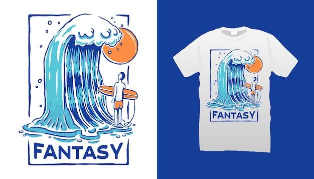 Conception de t-shirt de surf
