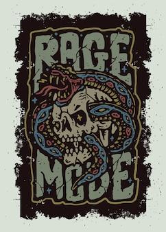 La conception de t-shirt tatouage old school serpent et crâne