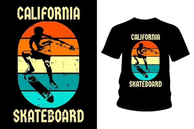 Conception de t-shirt texte california skateboard