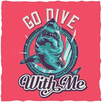 Conception de t-shirt thème nautique avec illustration de requin en colère