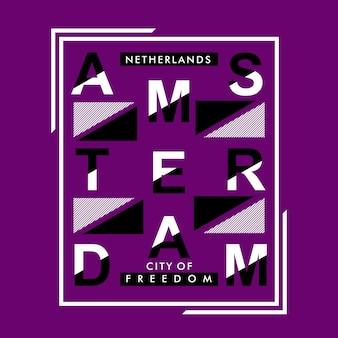 Conception de t-shirt de typographie d'amsterdam