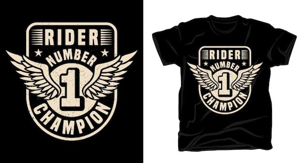 Conception de t-shirt de typographie de champion numéro un du cavalier