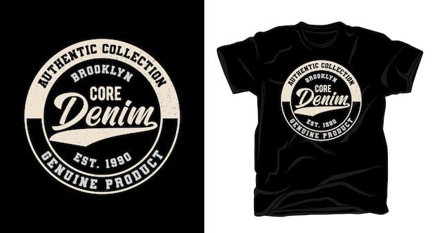 Conception de t-shirt de typographie en denim de base