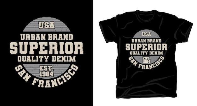 Conception de t-shirt de typographie en denim de qualité supérieure