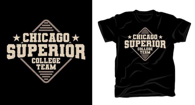 Conception de t-shirt de typographie de l'équipe du collège supérieur de chicago