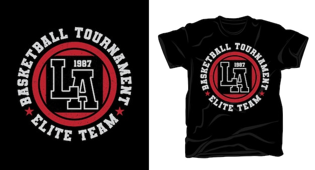 Conception de t-shirt typographie de l'équipe d'élite du tournoi de basket-ball de los angeles