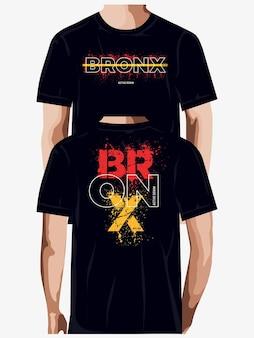 Conception de t-shirt de typographie graphique abstraite bronx vecteur premium