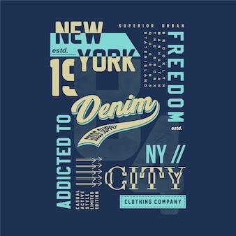 Conception de t-shirt de typographie graphique abstraite en denim de new york city