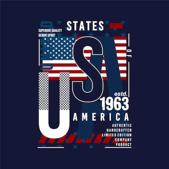 Conception de t-shirt de typographie graphique abstraite du drapeau des états-unis d'amérique