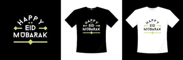 Conception de t-shirt typographie happy ied mubarak