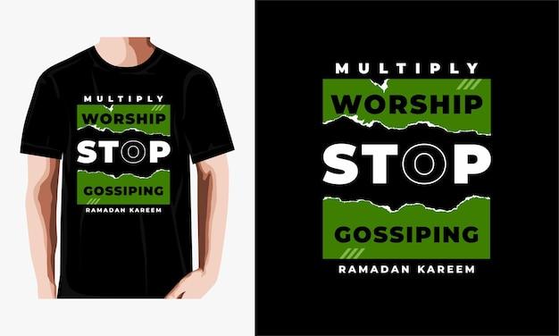 Conception de t-shirt typographie ramadan kareem