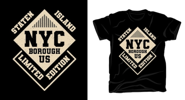 Conception de t-shirt typographie staten island new york city borough