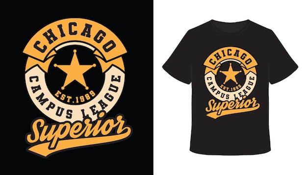 Conception de t-shirt de typographie supérieure de la ligue du campus de chicago