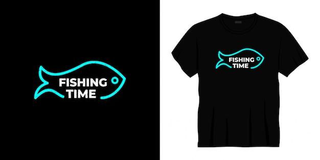 Conception de t-shirt de typographie de temps de pêche