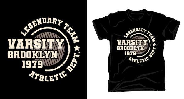 Conception de t-shirt de typographie varsity brooklyn