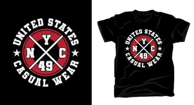 Conception de t-shirt typographie vêtements décontractés des états-unis