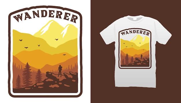 Conception de t-shirt vagabond de montagne
