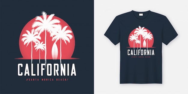 Conception de t-shirt et vêtements california santa monica beach, typogr