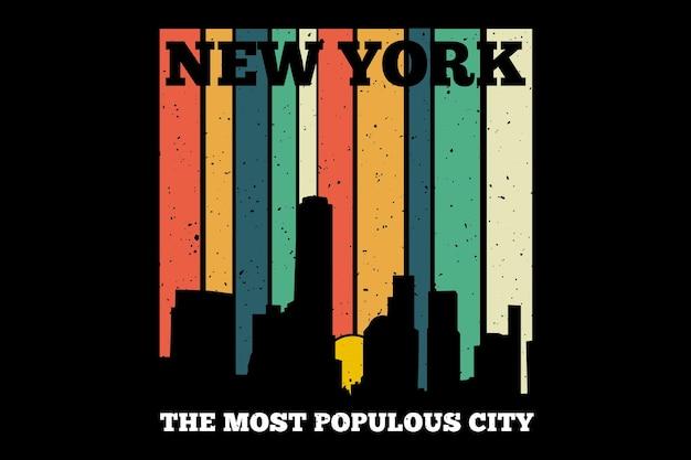 Conception de t-shirt avec la ville de new york dans un style rétro