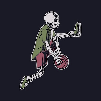 Conception de t-shirt vintage, le crâne exécute la compétence en faisant tourner la balle sous son illustration de panier de pieds