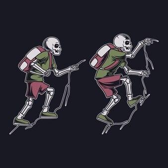 Conception de t-shirt vintage une illustration de randonnée de crâne d'escalade