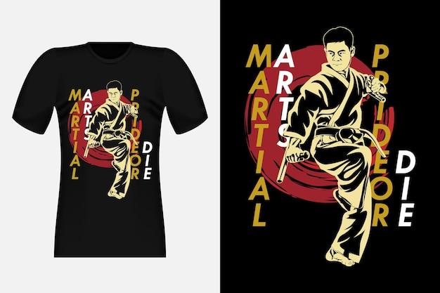 Conception de t-shirt vintage de silhouette d'arts martiaux de fierté ou de mort