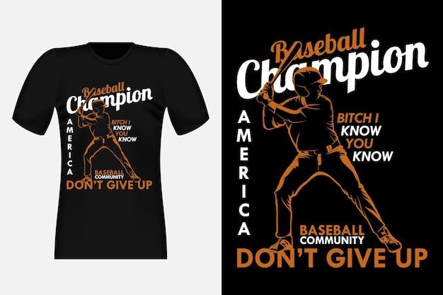 Conception de t-shirt vintage de silhouette de champion de baseball de l'amérique