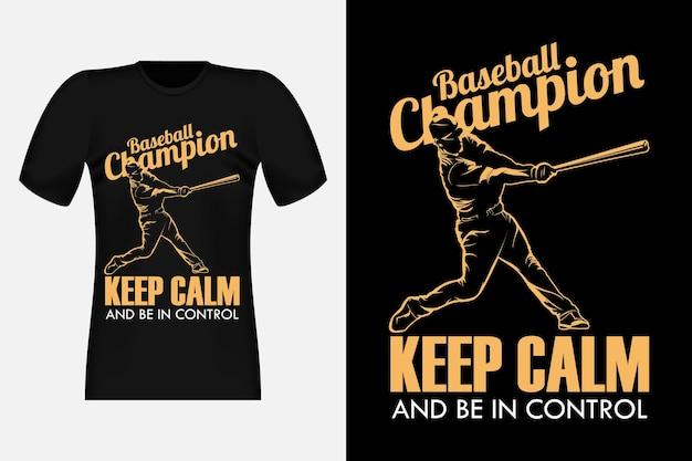 Conception de t-shirt vintage de silhouette de champion de baseball
