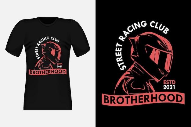 Conception de t-shirt vintage de silhouette de club de course de rue
