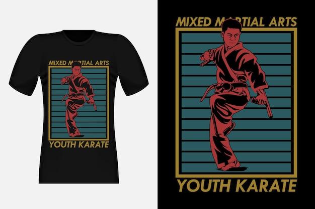 Conception de t-shirt vintage de silhouette de karaté de jeunesse d'arts martiaux mixtes