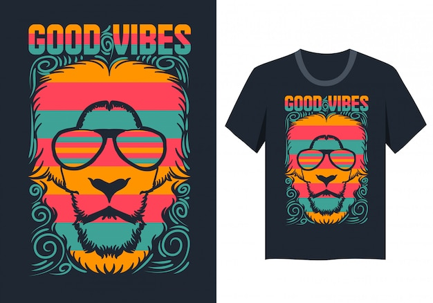 Conception de t-shirt avec visage de lion bonnes vibrations