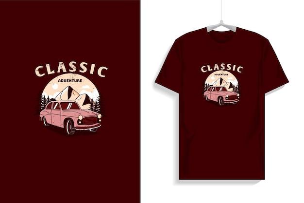 Conception de t-shirt avec voiture classique