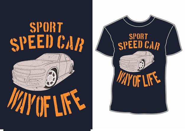 Conception de t-shirt de voiture de vitesse sport