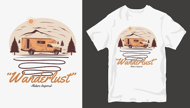 Conception de t-shirt wanderlust, conception de t-shirt aventure.