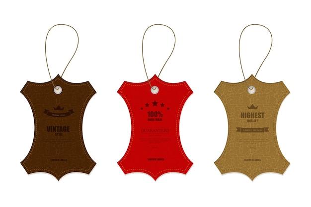 Conception de tag et bannière en cuir vintage.