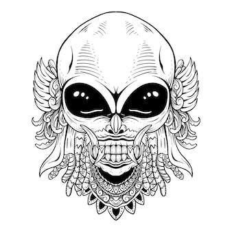 Conception de tatouage alien avec dessin au trait barong noir et blanc