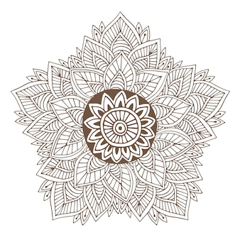 Conception de tatouage de mandala ou de henné de vecteur. rond ornemental pour les pages du livre à colorier ou la conception de l'emballage