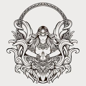 Conception de tatouage noir et blanc ornement de gravure de déesse de beauté dessiné à la main