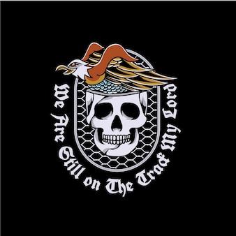 Conception de tatouage old school aigle et crâne
