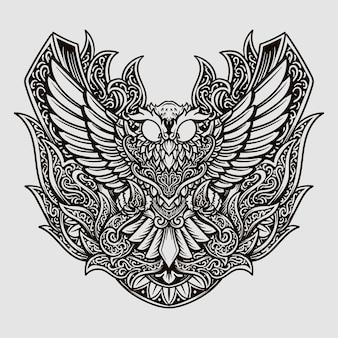 Conception de tatouage ornement de gravure de hibou dessiné à la main noir et blanc