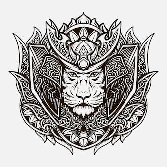 Conception de tatouage ornement de gravure de tigre de samouraï dessiné à la main noir et blanc