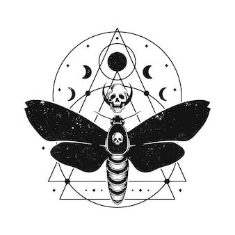 Conception de tatouage de phases lunaires de papillon
