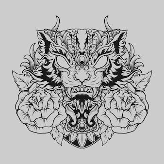 Conception de tatouage et de t-shirt chat noir et blanc dessiné à la main et ornement de gravure de rose