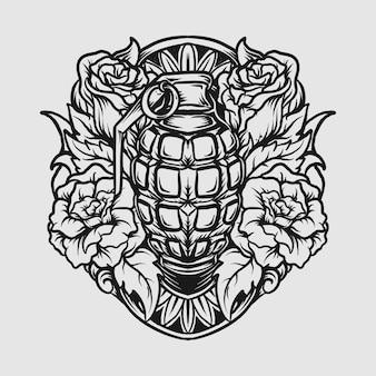 Conception de tatouage et de t-shirt grenade dessinée à la main en noir et blanc et ornement de gravure de rose