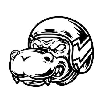 Conception de tatouage et de t-shirt illustration de crocodile noir et blanc