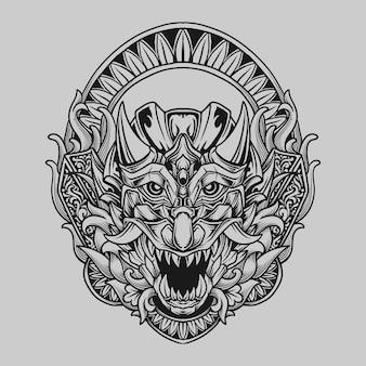 Conception de tatouage et de t-shirt illustration dessinée à la main en noir et blanc ornement de gravure oni japonais