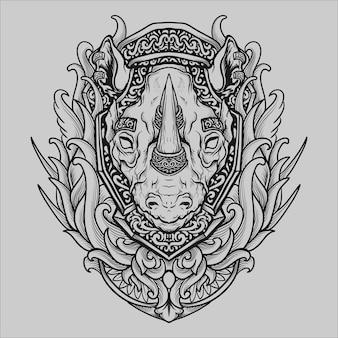 Conception de tatouage et de t-shirt illustration dessinée à la main en noir et blanc ornement de gravure de rhinocéros