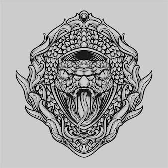Conception de tatouage et de t-shirt illustration dessinée à la main en noir et blanc ornement de gravure de tête de serpent