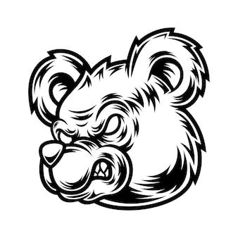 Conception de tatouage et de t-shirt illustration d'ours noir et blanc